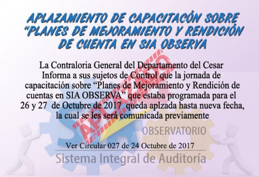 Aplazamiento de Capacitación sobre Planes de Mejoramiento y Rendición de cuentas en SIA OBSERVA