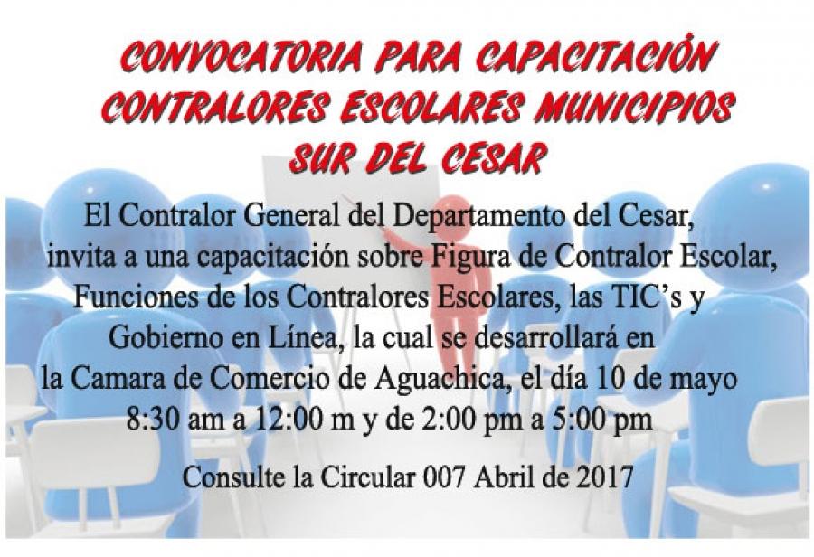 Convocatoria Capacitación Contralores Escolares - Sur del Cesar