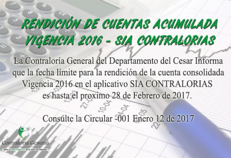 Rendición de Cuentas Vigencia 2016 - SIA CONTRALORIAS
