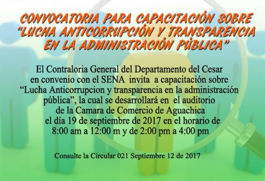 Capacitación Lucha Anticorrupción y Transparencia en la administración publica Aguachica