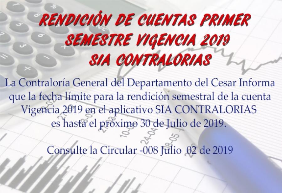 Rendición de Cuentas Semestral  Vigencia 2019
