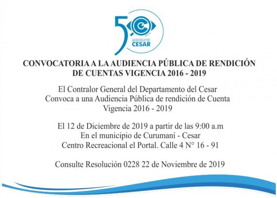 Rendición de Cuenta Vigencia 2016 - 2019