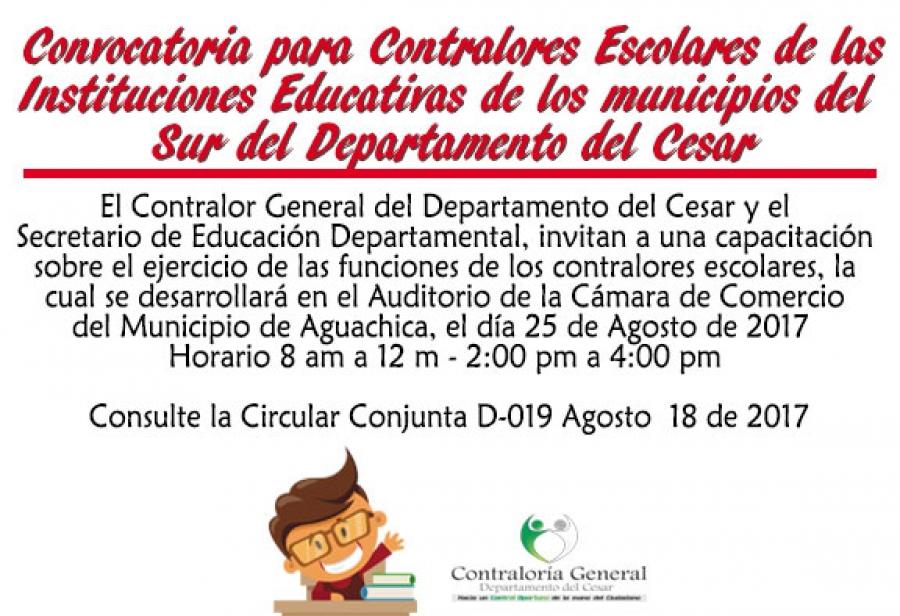Capacitación para Contralores Escolares de las instituciones educativas de los municipios del sur del Cesar