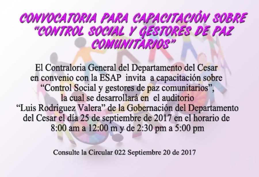 Capacitación sobre Control social y Gestores de Paz Comunitarios