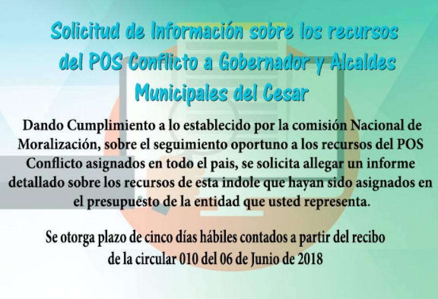 Solicitud de Información sobre los recursos del POS Conflicto a Gobernador y Alcaldes muncipales del Dpto del Cesar