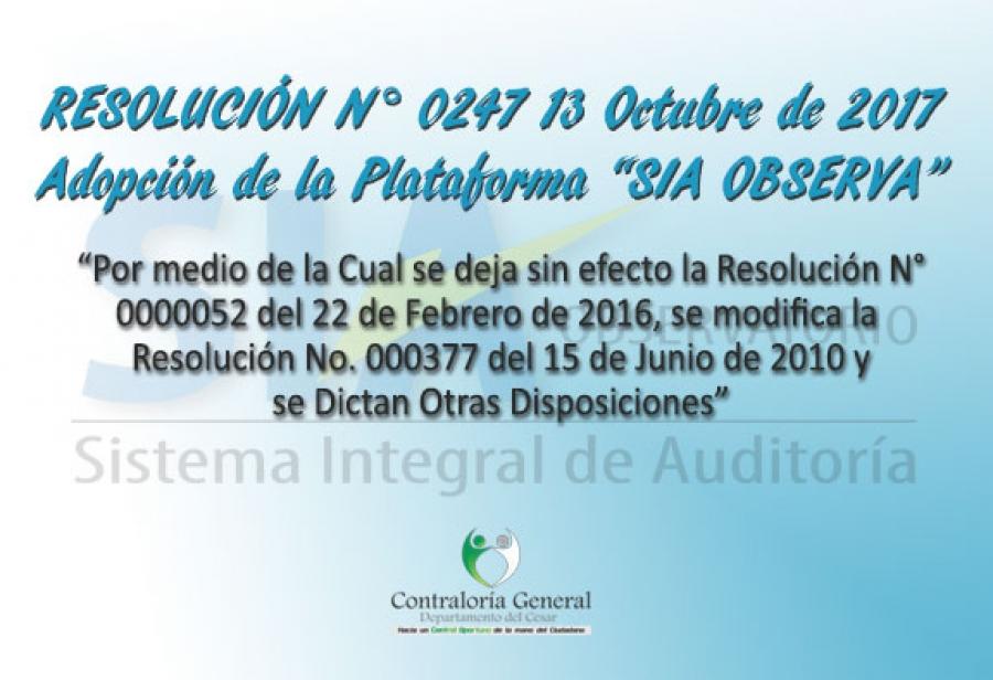 Resolución 0247 - Adopción SIA OBSERVA