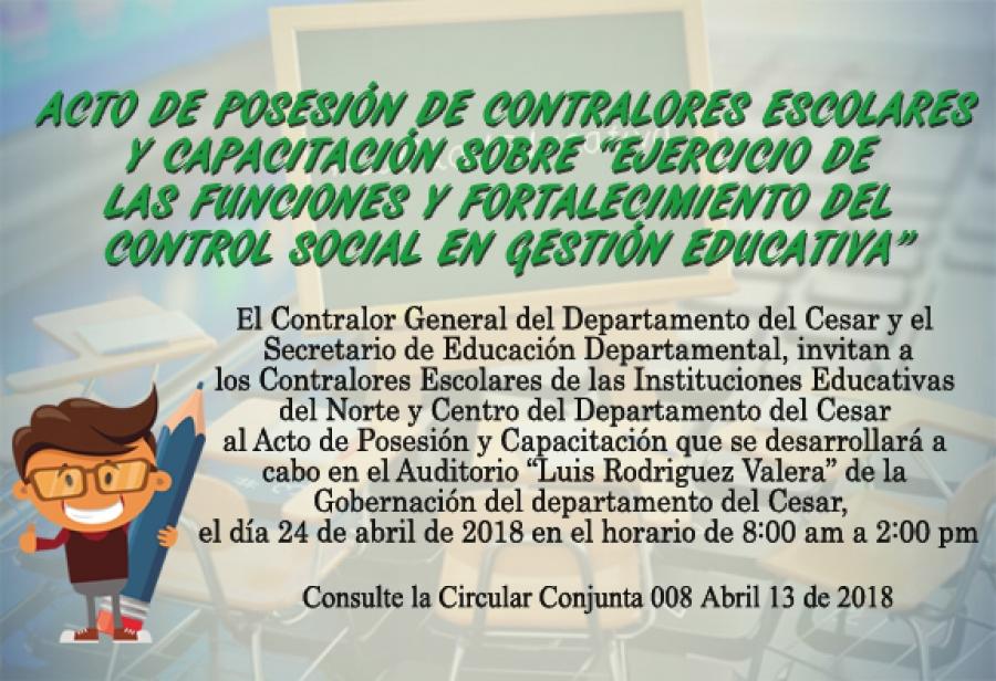 Acto de Posesión de los Contralores Escolares del Norte y Centro del Departamento del Cesar