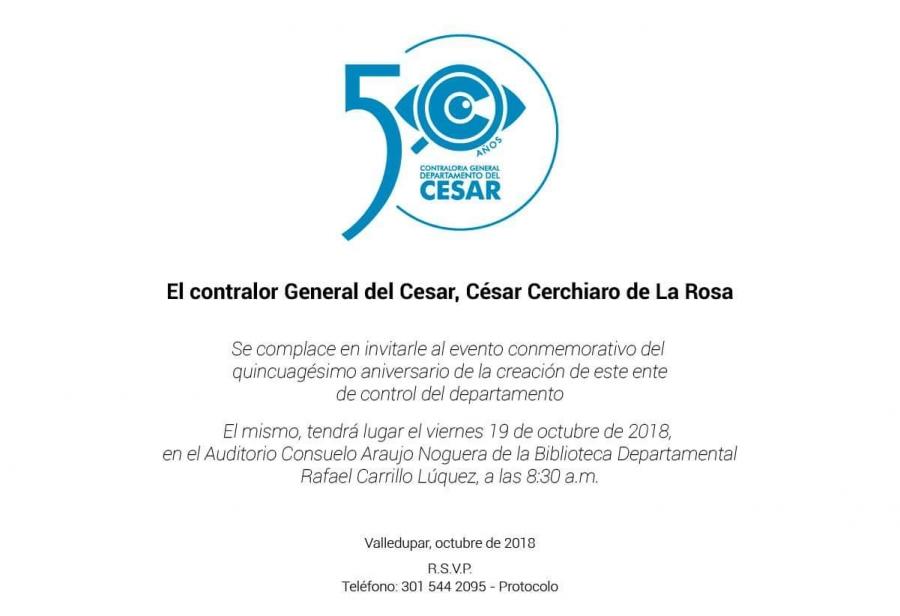 Contraloria General del Departamento del Cesar cumple 50 años