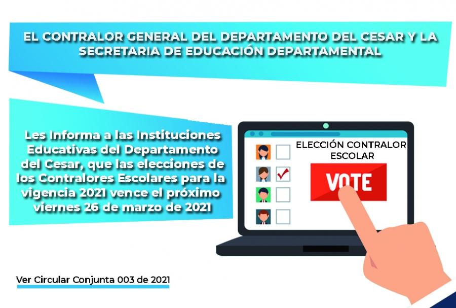 Elección de Contralores Escolares - Vigencia 2021
