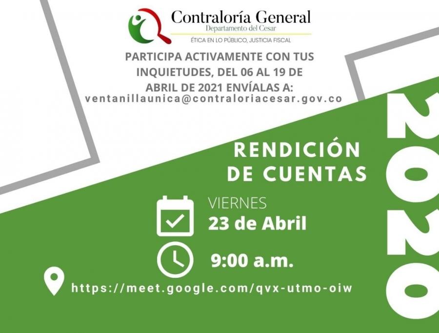 Participa en la Rendición de Cuentas Virtual 2020 con tus inquietudes