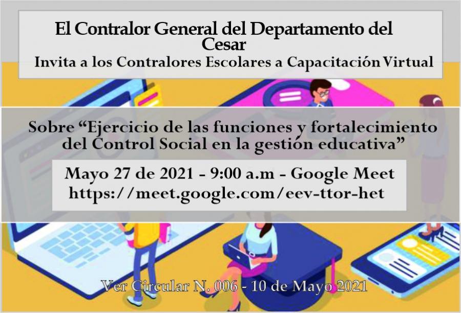 Capacitación Contralores Escolares del departamento del Cesar